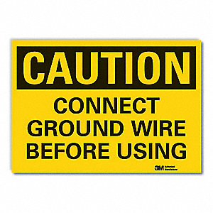 "Electrical Hazard, Caution, Vinyl, 10"" x 14"", Adhesive Surface, Engineer"