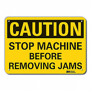 Caution Sign,7 in. H,Alum,Stop Machine