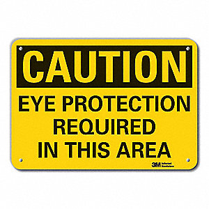"Personal Protection, Caution, Aluminum, 7"" x 10"", With Mounting Holes, Engineer"