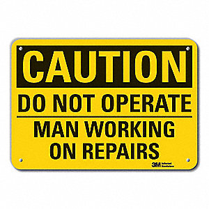 "Person Working, Caution, Recycled Aluminum, 7"" x 10"", With Mounting Holes, Engineer"