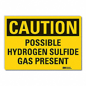 "Chemical, Gas or Hazardous Materials, Caution, Vinyl, 10"" x 14"", Adhesive Surface, Engineer"