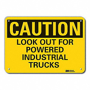 "Lift Truck Traffic, Caution, Recycled Aluminum, 10"" x 14"", With Mounting Holes, Engineer"