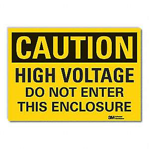 Caution Sign,7 in. H,Vinyl,High Voltage