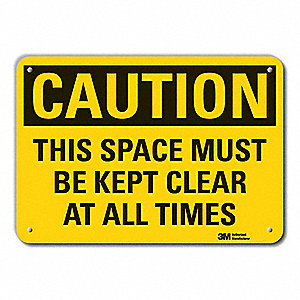 "Keep Clear, Caution, Recycled Aluminum, 7"" x 10"", With Mounting Holes, Engineer"