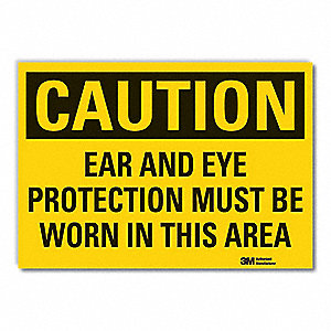 "Personal Protection, Caution, Vinyl, 3-1/2"" x 5"", Adhesive Surface, Engineer"