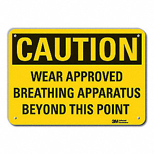 Caution Sign,10 in. H,Alum,Wear Approved