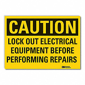 "Lockout Tagout, Caution, Vinyl, 10"" x 14"", Adhesive Surface, Engineer"