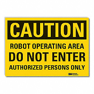 "Authorized Personnel and Restricted Access, Caution, Vinyl, 5"" x 7"", Adhesive Surface, Engineer"