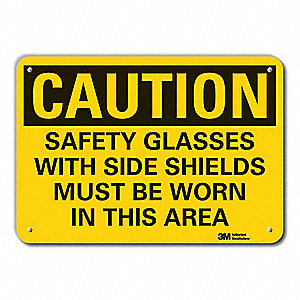 "Personal Protection, Caution, Recycled Aluminum, 7"" x 10"", With Mounting Holes, Engineer"
