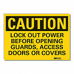 Caution Sign,7 in H,Vinyl,Lock Out Power