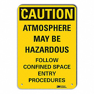 "Confined Space, Caution, Recycled Aluminum, 10"" x 14"", With Mounting Holes, Engineer"