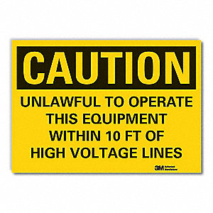 "Electrical Hazard, Caution, Vinyl, 3-1/2"" x 5"", Adhesive Surface, Engineer"