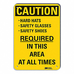 Caution Sign,10 in H,Alum,Hard Hats Safe