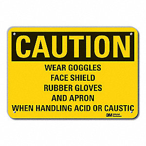 Caution Sign,10 in. H,Alum,Wear Goggles