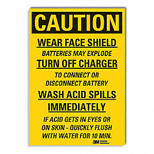 Caution Sign,7 in. H,Vinyl,Wear Face