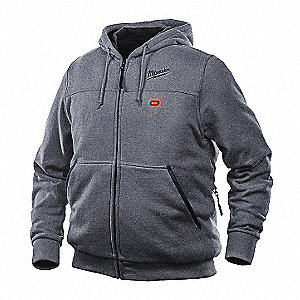 Men's Gray Heated Hoodie Kit, Size: M, Battery Included: Yes