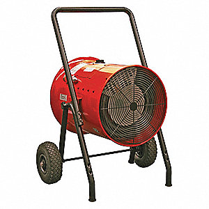 "30"" x 24"" x 40"" Fan Forced Electric Salamander Heater, Red, 240VAC"