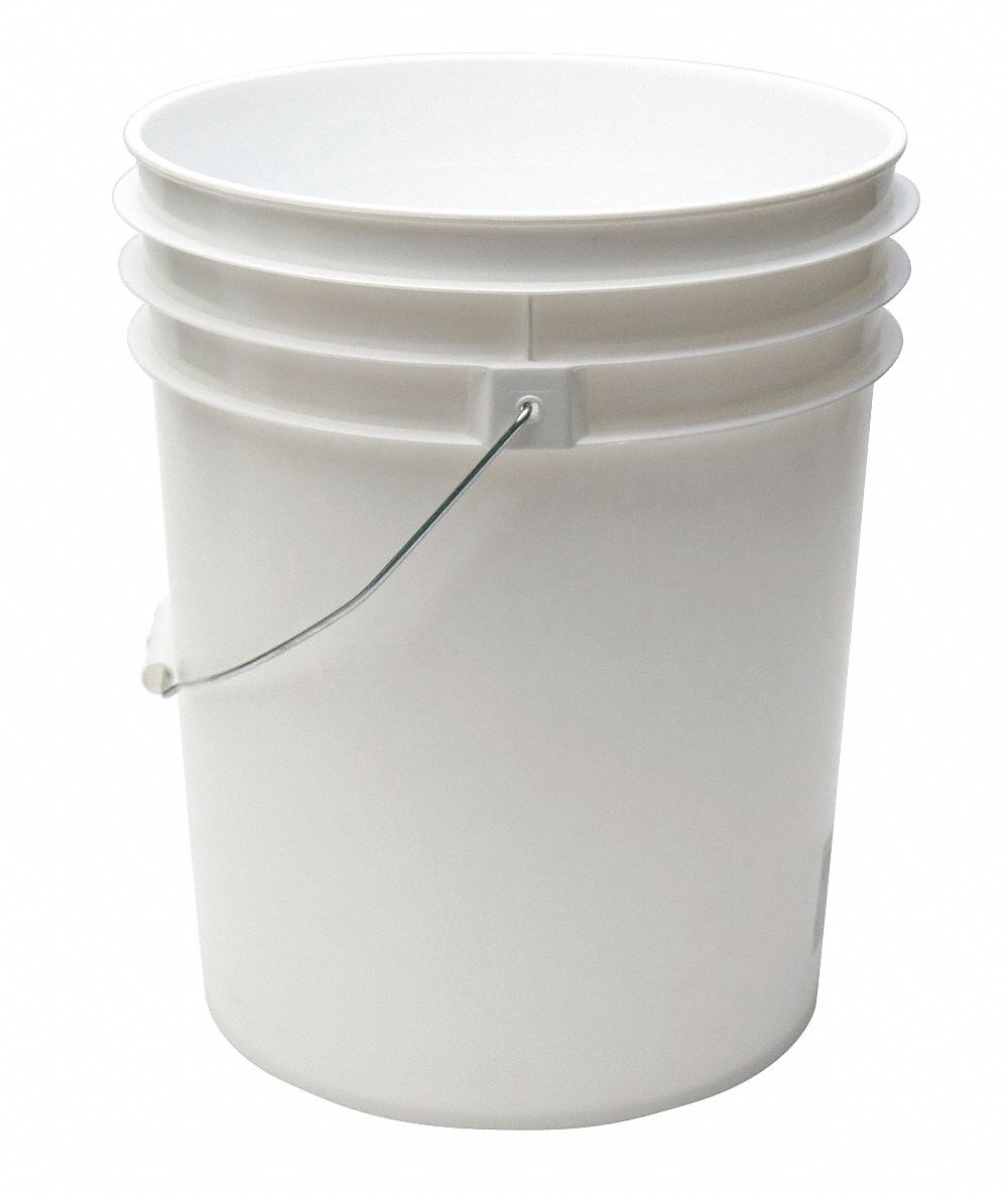 5.0 gal High Density Polyethylene Round Pail, White