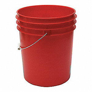 5.0 gal. High Density Polyethylene Round Pail, Red