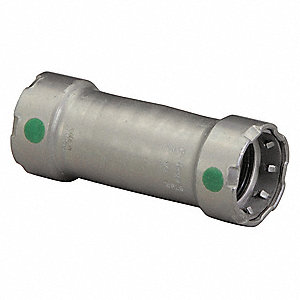"Carbon Steel Extended Coupling No Stop, Press x Press Connection Type, 1-1/2"" x 1-1/2"" Tube Size"
