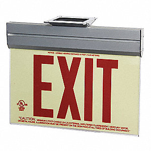Exit Sign,Photoluminescent,Red,Acrylic