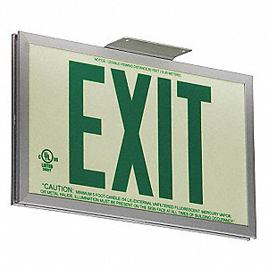 Exit Sign,Photoluminescent,Green,2 Face