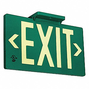 Exit Sign,Photoluminescent,Green,Plastic