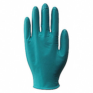 "9-1/2"" Powder Free Unlined Nitrile Disposable Gloves, Teal, Size  2XL, 90PK"