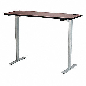 Adj. Table,24 in.D,60 in.W,Cherry,Steel