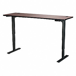 Adj. Table,24 in.D,72 in.W,Cherry,Steel