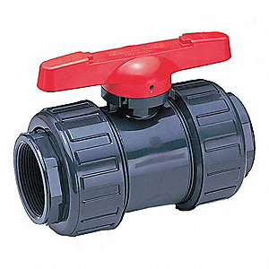 "PVC Socket Ball Valve, Tee, 4"" Pipe Size"