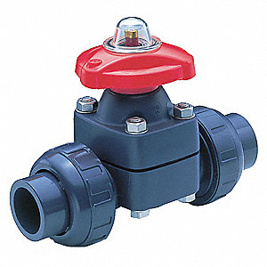 "10-7/8"" Butt 2-Way Diaphragm Valve, 26 Coefficient of Volume, PTFE"