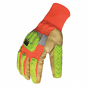 Winter Leather Impact Gloves, Goatskin Leather Palm Material, Brown/Hi-Visibility Orange/Hi-Visibili