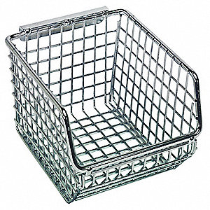 "Hang and Stack Bin, Chrome, 5-1/4"" Outside Length, 4-1/4"" Outside Width, 3"" Outside Height"