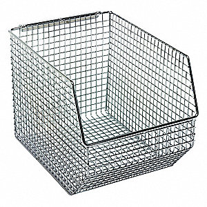 "Hang and Stack Bin, Chrome, 10-1/2"" Outside Length, 8"" Outside Width, 7"" Outside Height"