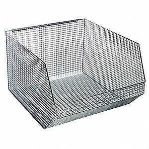 "Hang and Stack Bin, Chrome, 18-1/2"" Outside Length, 17"" Outside Width, 11-1/4"" Outside Height"