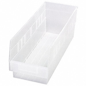 "Shelf Bin, Clear, 6""H x 17-7/8""L x 6-5/8""W, 1EA"