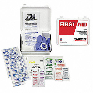 First Aid Kit, Kit, Plastic Case Material, Travel, 15 People Served Per Kit