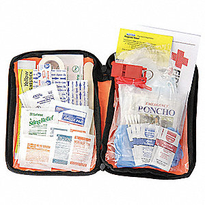 First Aid Kit, Kit, Fabric Case Material, General Purpose, 25 People Served Per Kit