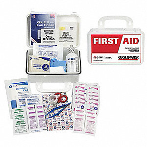 First Aid Kit, Kit, Plastic Case Material, General Purpose, 25 People Served Per Kit