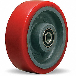 "6"" Caster Wheel, 1400 lb. Load Rating, Wheel Width 2"", Polyurethane, Fits Axle Dia. 1/2"""