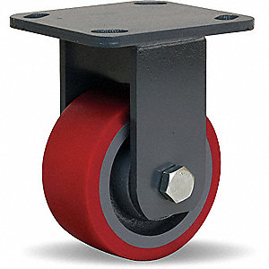 Plte Caster,Rgd,Poly,4 in.,900 lb.,Red