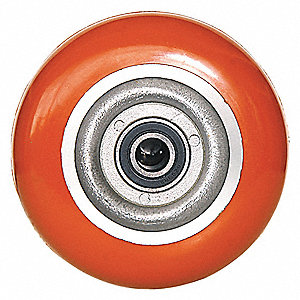 "6"" Caster Wheel, 1000 lb. Load Rating, Wheel Width 2"", Polyurethane, Fits Axle Dia. 1/2"""
