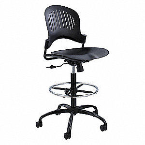 "Drafting Chair,Plastic,Blk,23-33""Seat Ht"