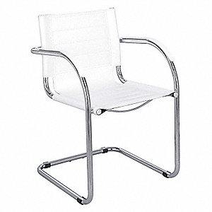 Flaunt Guest Chair,Leather,White