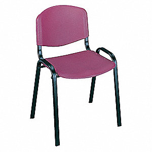 Black Steel Stacking Chair with Burgundy Seat Color, 4PK