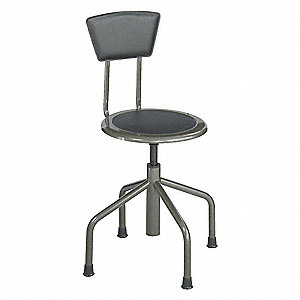 "Round Stool with 16"" to 22"" Seat Height Range and 250 lb. Weight Capacity, Pewter"