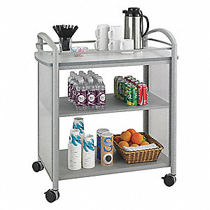 "21-1/4"" x 34"" x 36-1/2"" Steel Frame, Translucent Polycarbonate Impromptu Beverage Cart with 200 lb."