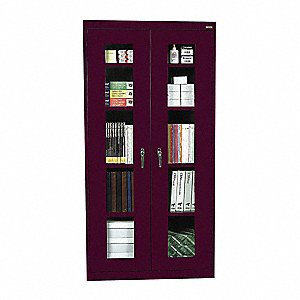 Storage Cabinet,78 in.,Steel,Burgundy