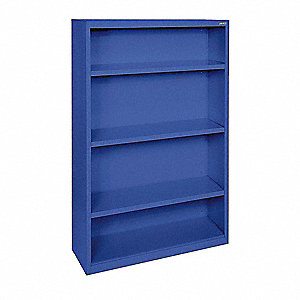 Bookcase,Vertical,Elite,3,Blue,Steel